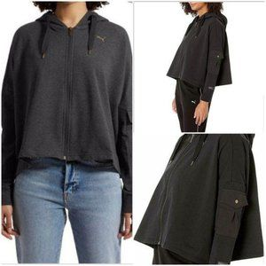 PUMA CROPPED OVERSIZED ZIP UP HOODIE L